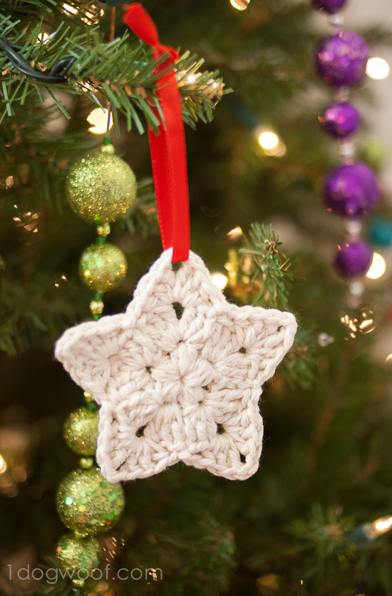 Crochet Star Ornament Pattern - One Dog Woof