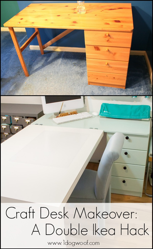 Ikea Hack Craft Desk Makeover. www.1dogwoof.com