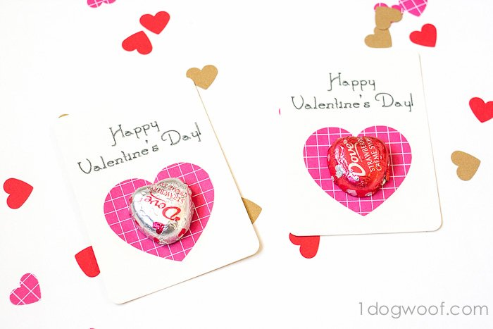 Dove chocolate hearts make this valentine fun to give and to receive! www.1dogwoof.com