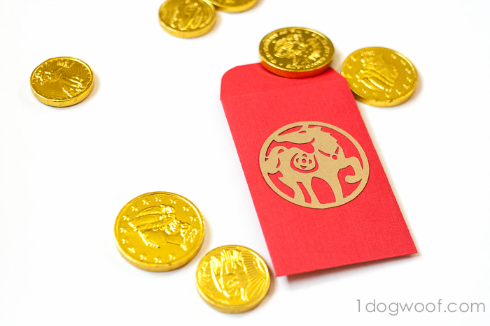 DIY red envelopes with chocolate coins for Chinese New Year