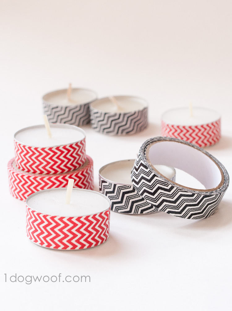 Washi tape tea lights | www.1dogwoof.com