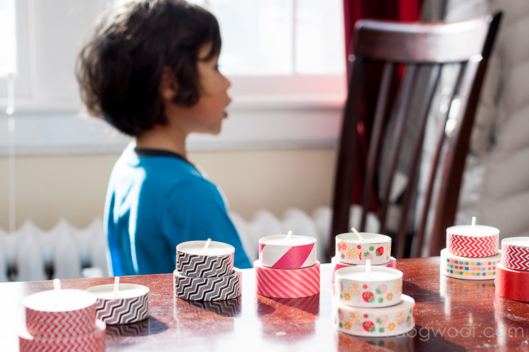 washi tape tea lights make great tea party cakes! | www.1dogwoof.com