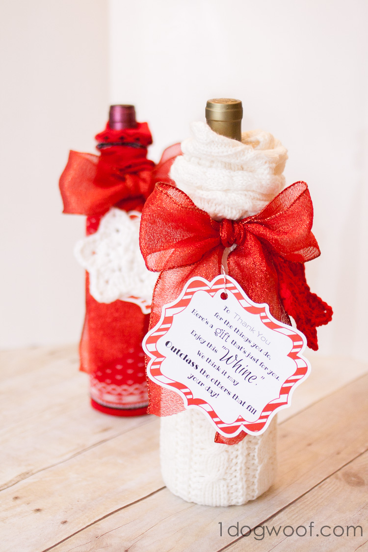 Wine and Whine Gift with printable | www.1dogwoof.com