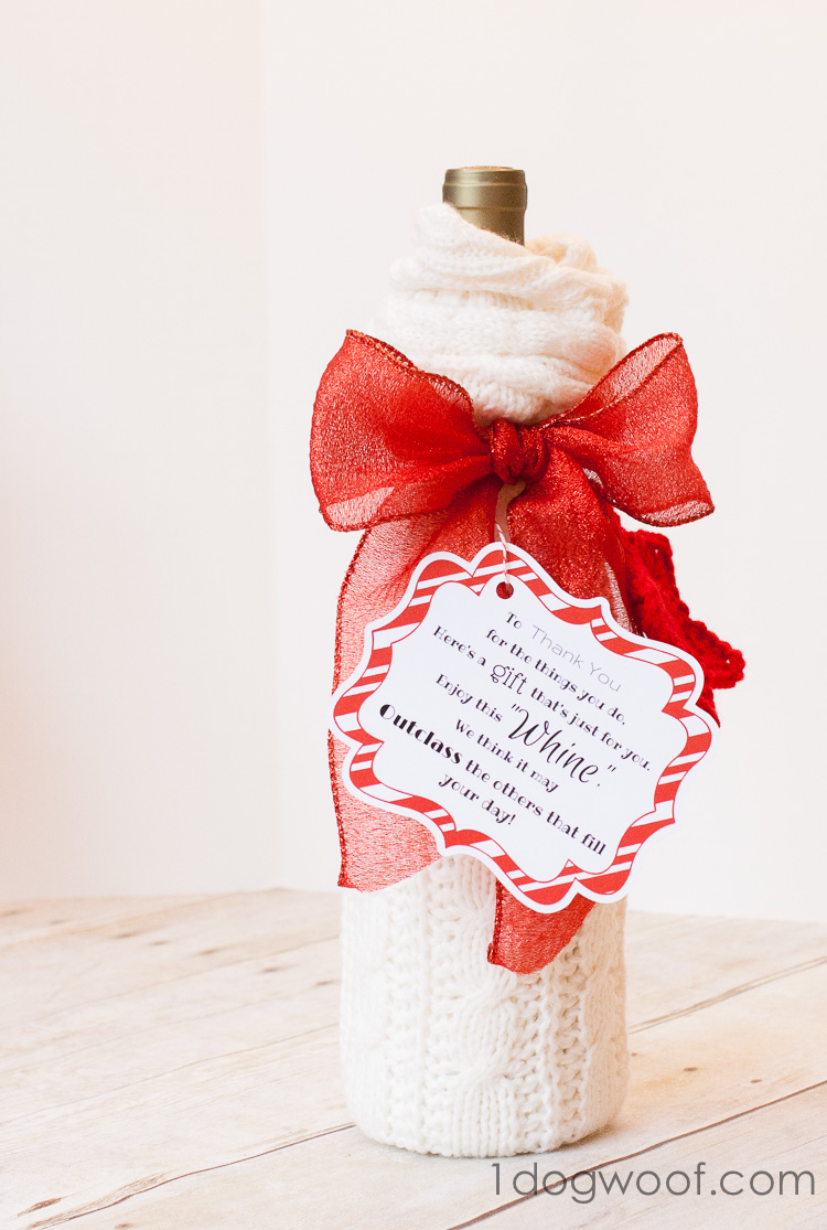 Wine and Whine Gift with Sock gift wrapping and Printable | www.1dogwoof.com