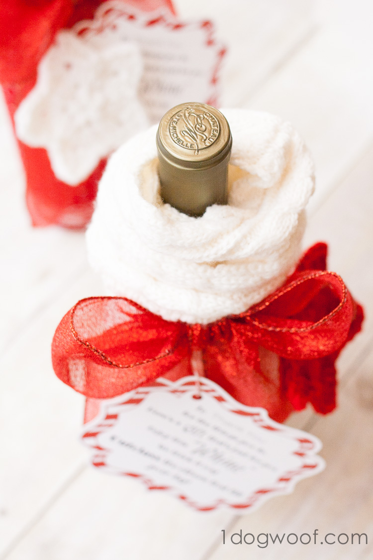 Wrap a wine bottle in a sock | www.1dogwoof.com