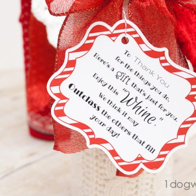 Wine and Whine Gift with Sock Gift-Wrapping and Printable