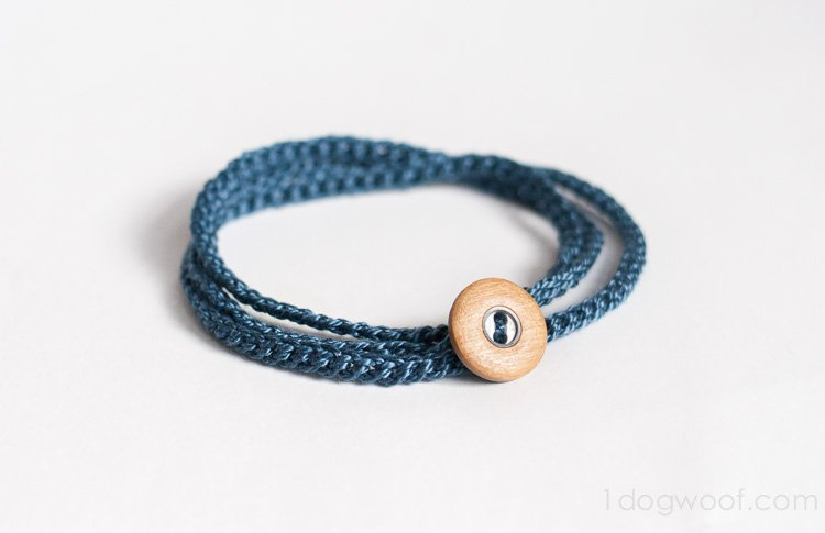 Crochet Wrap Bracelet With Button One Dog Woof