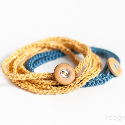 Crochet Wrap Bracelet with Button