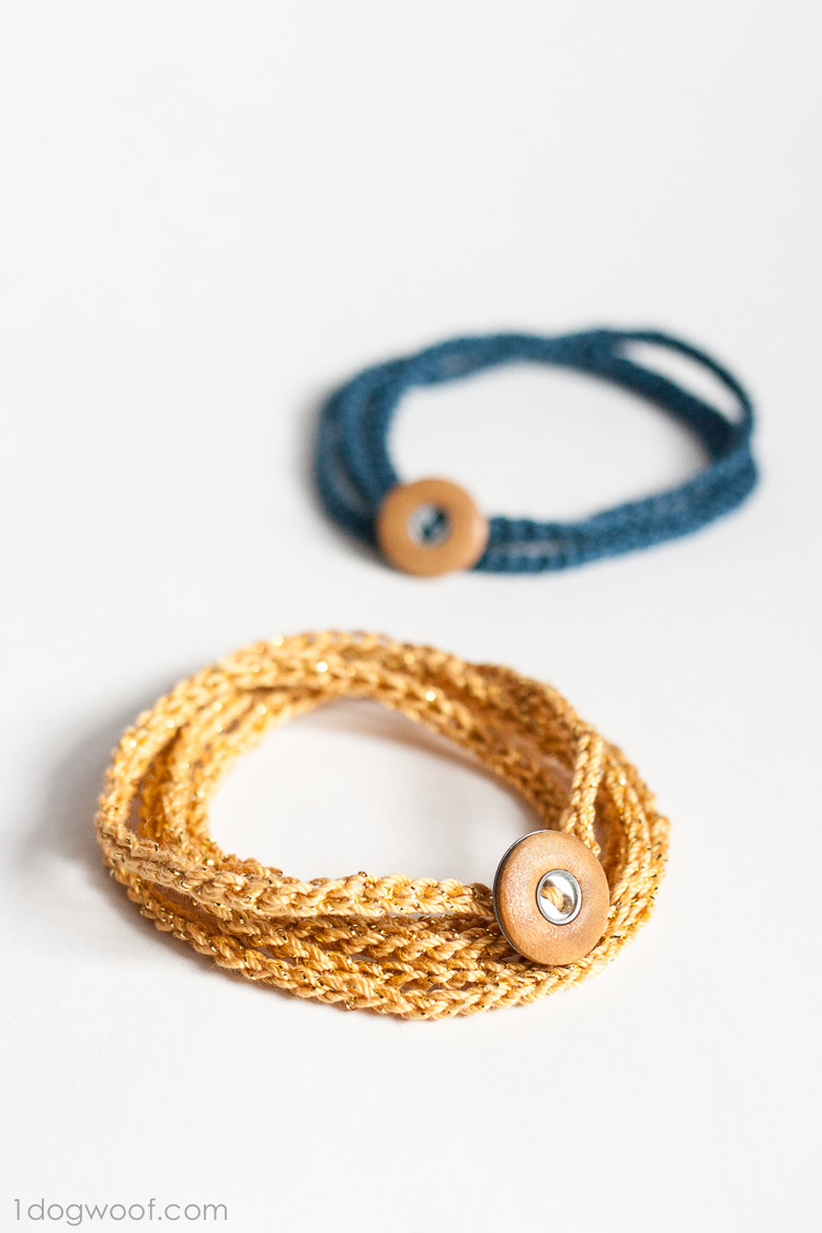 Crocheting Bracelets : Crochet Wrap Bracelet with Button - One Dog Woof