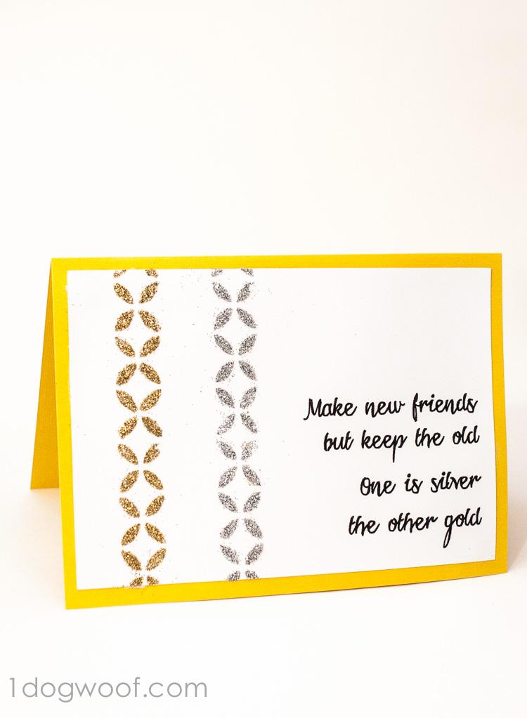 Greeting Card using Mod Podge Rocks Stencils and Podgeable Glitter   www.1dogwoof.com
