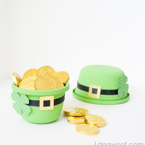 Leprechaun Hat Treat Bowl - Use a plastic container to make a leprechaun hat that holds candy | www.1dogwoof.com