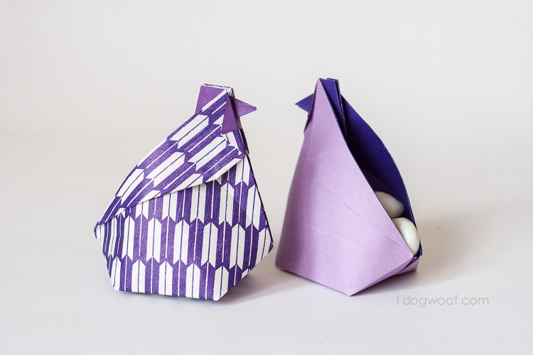 Origami Hen Treat Boxes | www.1dogwoof.com