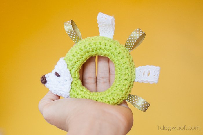 Hedgehog Taggie Baby Toy Crochet Pattern - Makes a perfect gift! | www.1dogwoof.com
