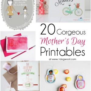 20 Gorgeous Mother's Day Printables - Gifts, Tags, Cards and Coupon Books | www.1dogwoof.com