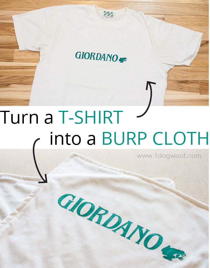 Repurposed T-shirt Burp Cloth | www.1dogwoof.com
