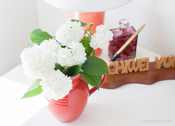 Flowers in a La Creuset breakfast jug   www.1dogwoof.com