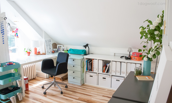 bright and airy attic workspace   www.1dogwoof.com
