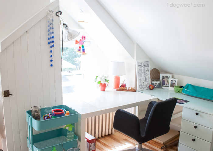 Inspiring and cheerful attic workspace! | www.1dogwoof.com