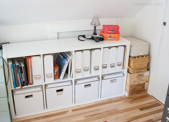 Ikea Kallax for storage on a knee wall | www.1dogwoof.com