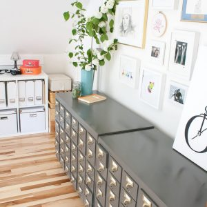 Gray catalog in a white craft room | www.1dogwoof.com