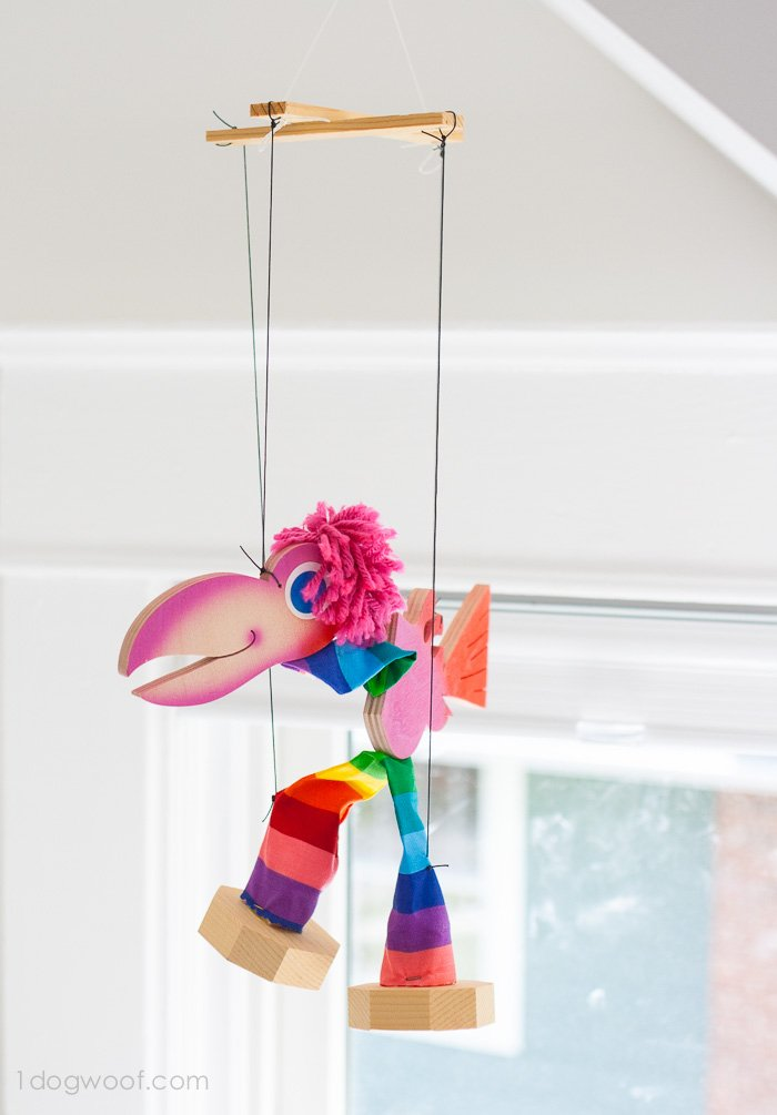 What a cute and colorful wooden puppet! | www.1dogwoof.com
