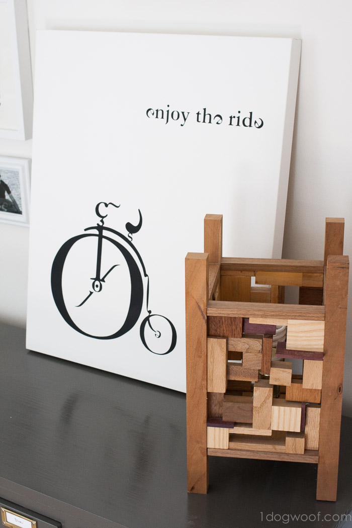 vintage typebike canvas art and wood lantern | www.1dogwoof.com