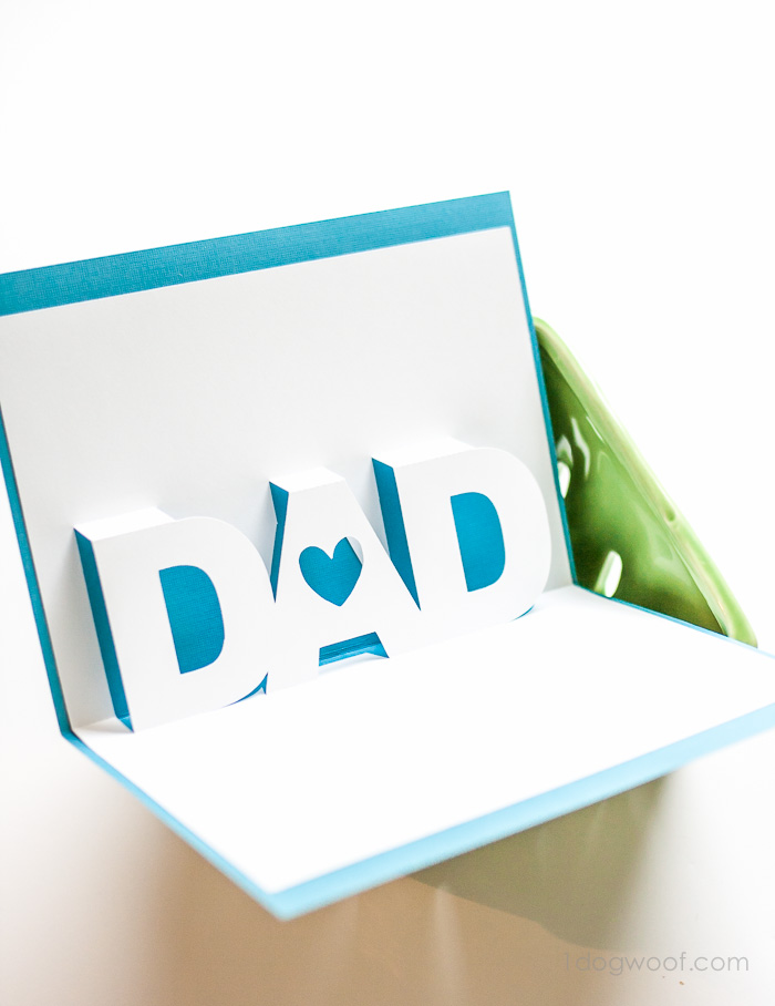 Father's Day Pop-Up Card with Free Silhouette Templates - One Dog Woof