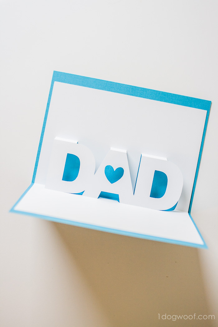 father s day pop up card with free silhouette templates one dog woof