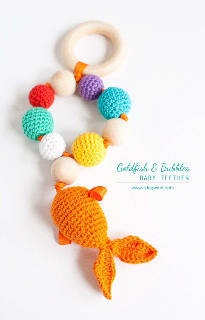 Bubbles and Goldfish Teether + rattle. Free crochet pattern + instructions | www.1dogwoof.com