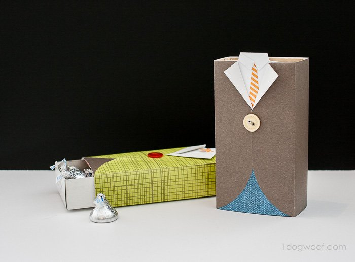 Men's Suit Gift Box with tutorial | www.1dogwoof.com