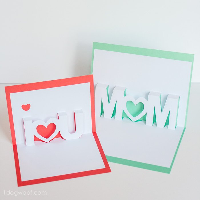 Mom, I Love You pop up cards with Silhouette cut files | www.1ogwoof.com
