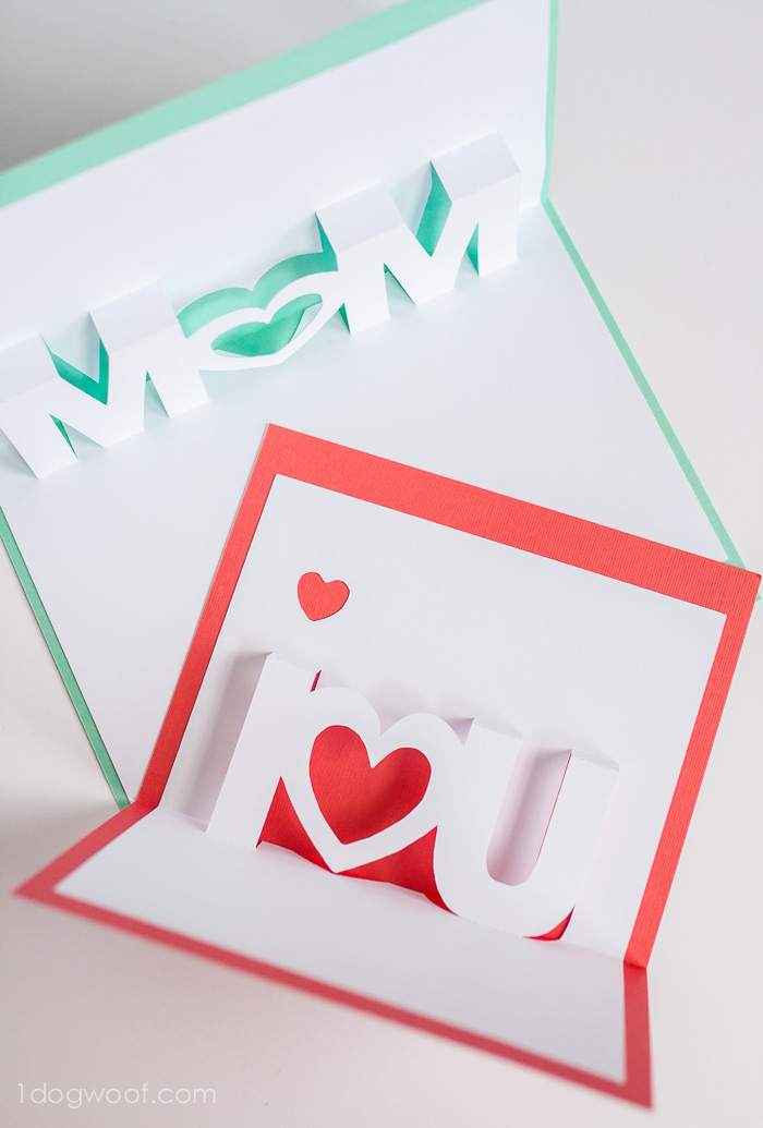 Mom, I Love You Pop Up Cards with Free Silhouette Cut Files