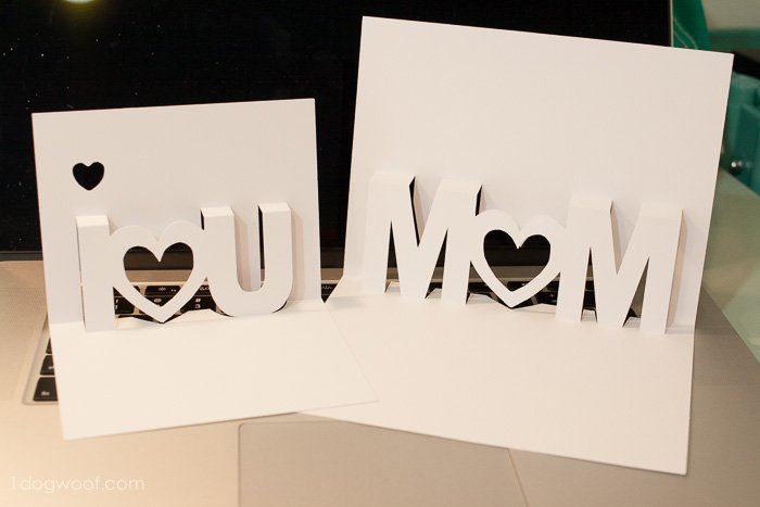 Mom and I Love You pop up cards with Silhouette cut files | www.1ogwoof.com