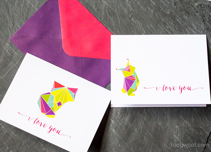 Origami Fox and Owl Greeting cards, free printable! | www.1dogwoof.com