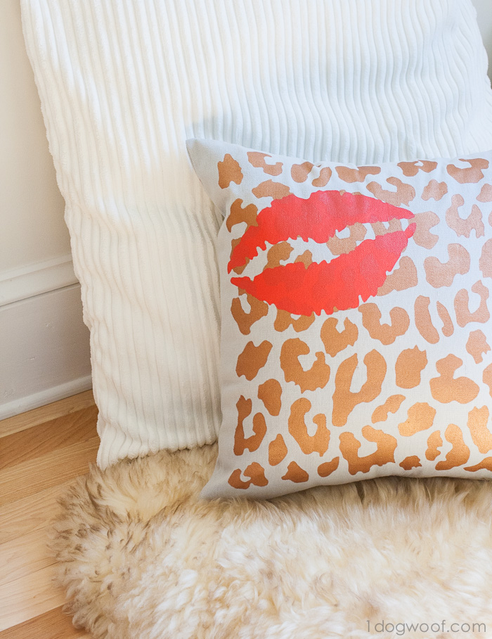 Layer stencils to create a pillow with Tulip | www.1dogwoof.com