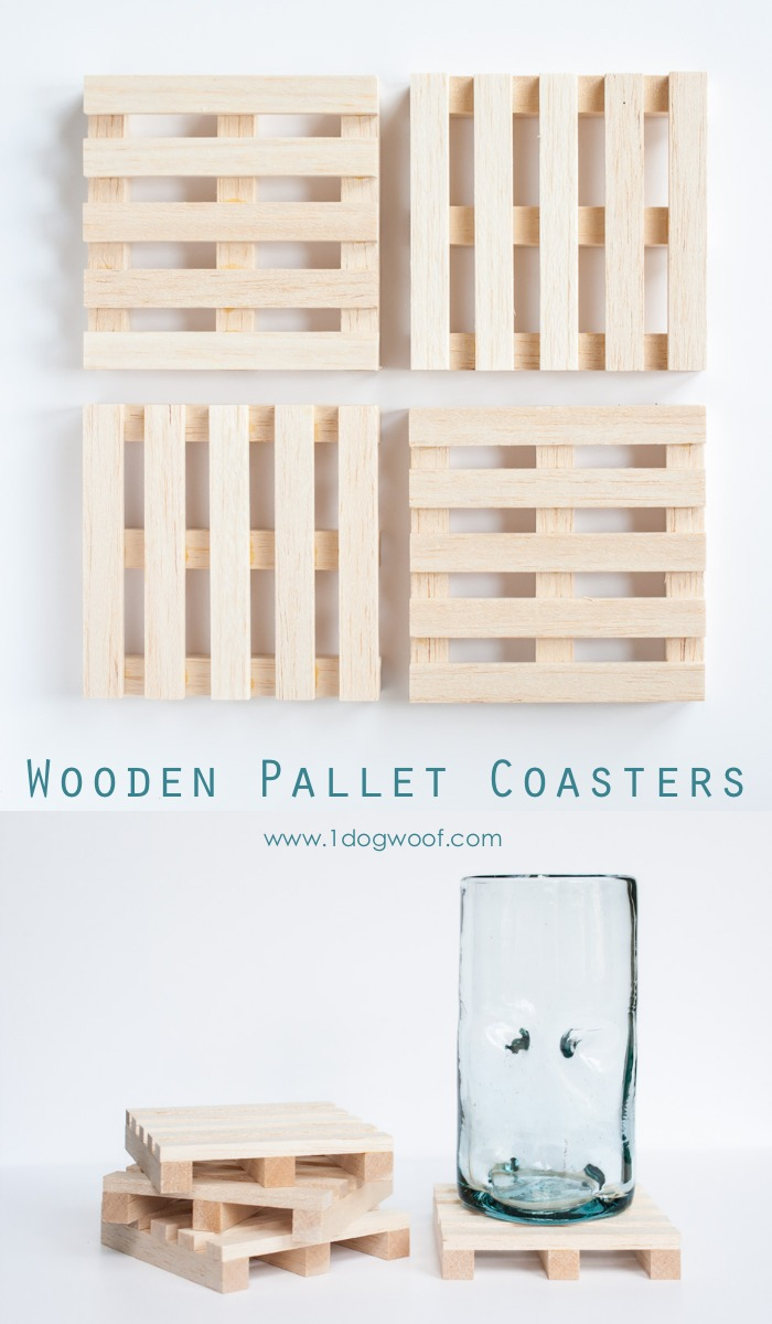 Wooden Pallet Coasters One Dog Woof