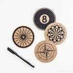 Stenciled Cork Coasters, Inspired by Anthropologie