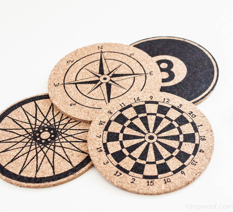 Stenciled Cork Coasters Inspired By Anthropologie