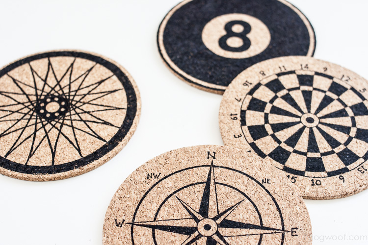 Anthropologie inspired stenciled cork coasters | www.1dogwoof.com