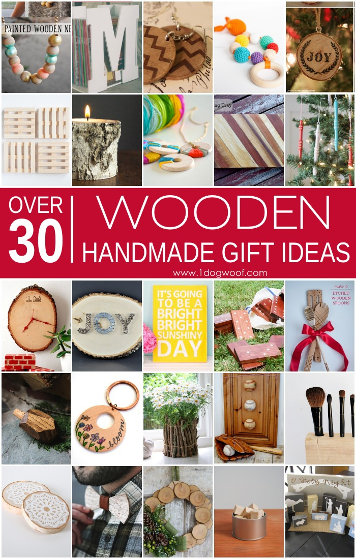 Over 30 wooden handmade gift ideas, as part of The Ultimate Library of Handmade Gift Ideas. What a great collection of handmade and homemade gift ideas for every holiday! | www.1dogwoof.com