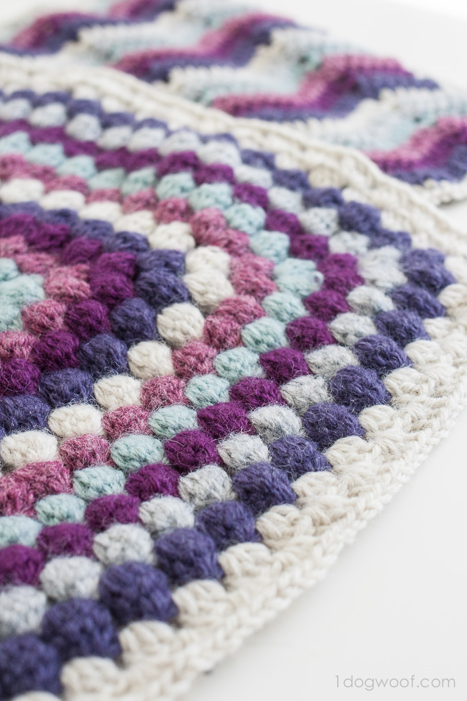 Bobble Stitch Afghan Square: Blog Hop CAL - One Dog Woof