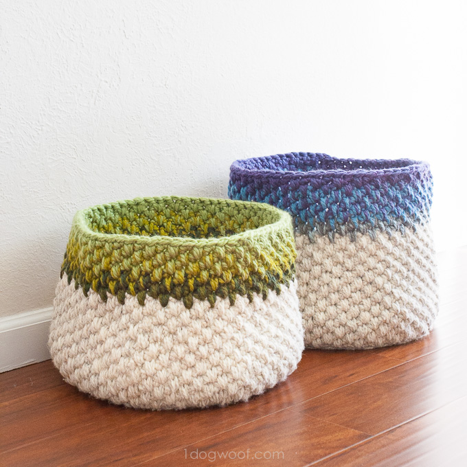 Letter Knitting Patterns : Color Block Crochet Basket Pattern - One Dog Woof