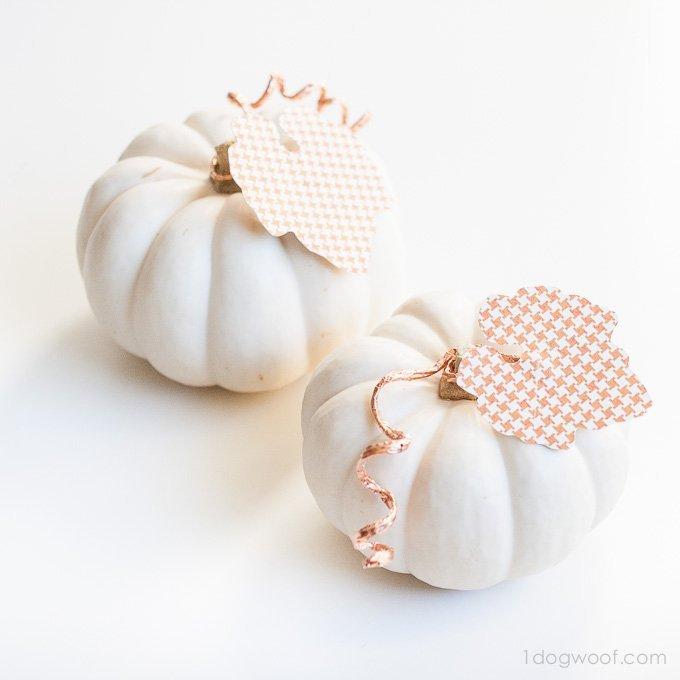 Copper and Paper Embellished Pumpkins