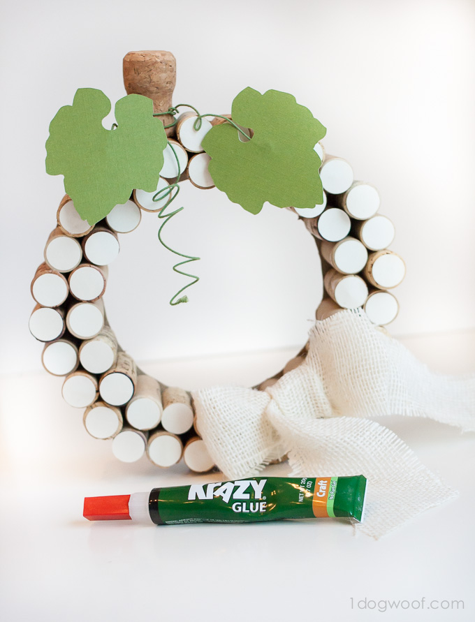 Pumpkin cork wreath, perfect for fall! Made easy with Krazy Glue | www.1dogwoof.com