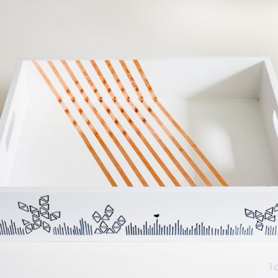 Sharpie Embellished Copper Striped Tray