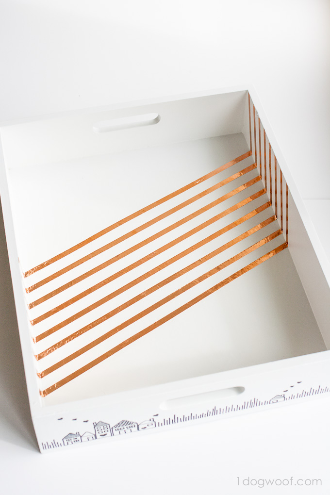 Copper tape adds a beautiful touch to a white wood tray | www.1dogwoof.com