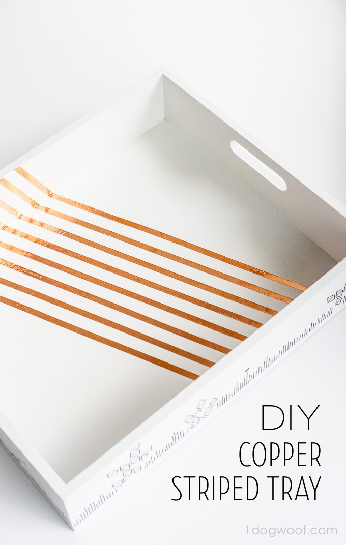 Love the copper stripes on this fun modern white tray! Sharpie doodles add an extra touch too! | www.1dogwoof.com