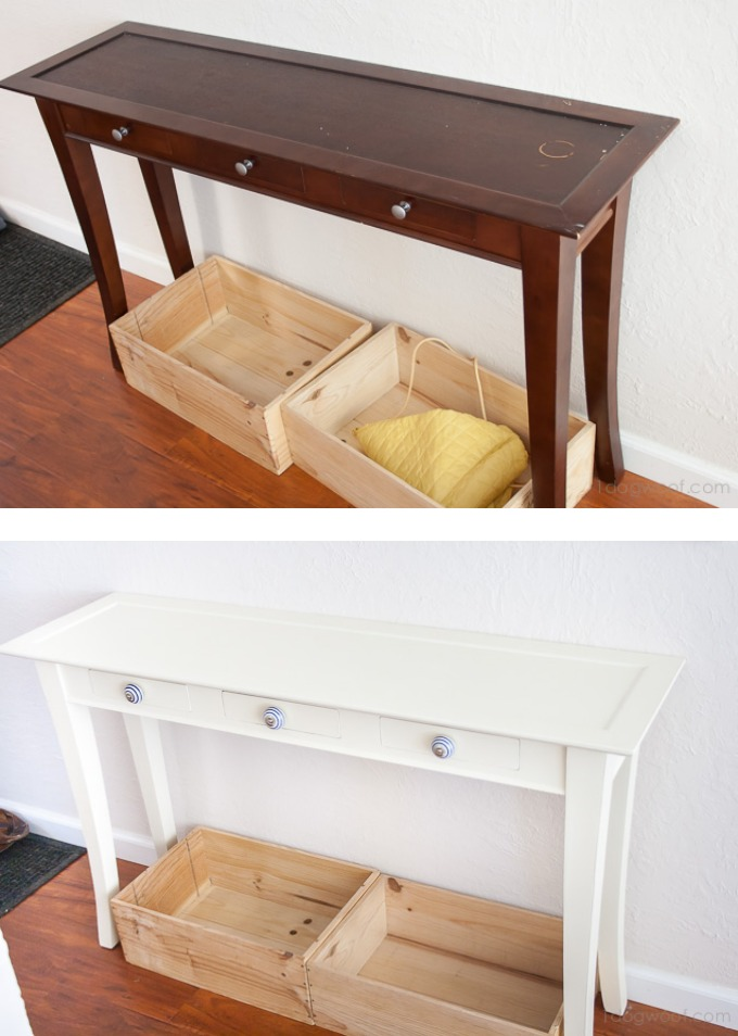 Hallway console table before and after, using Annie Sloan Chalk Paint® | www.1dogwoof.com