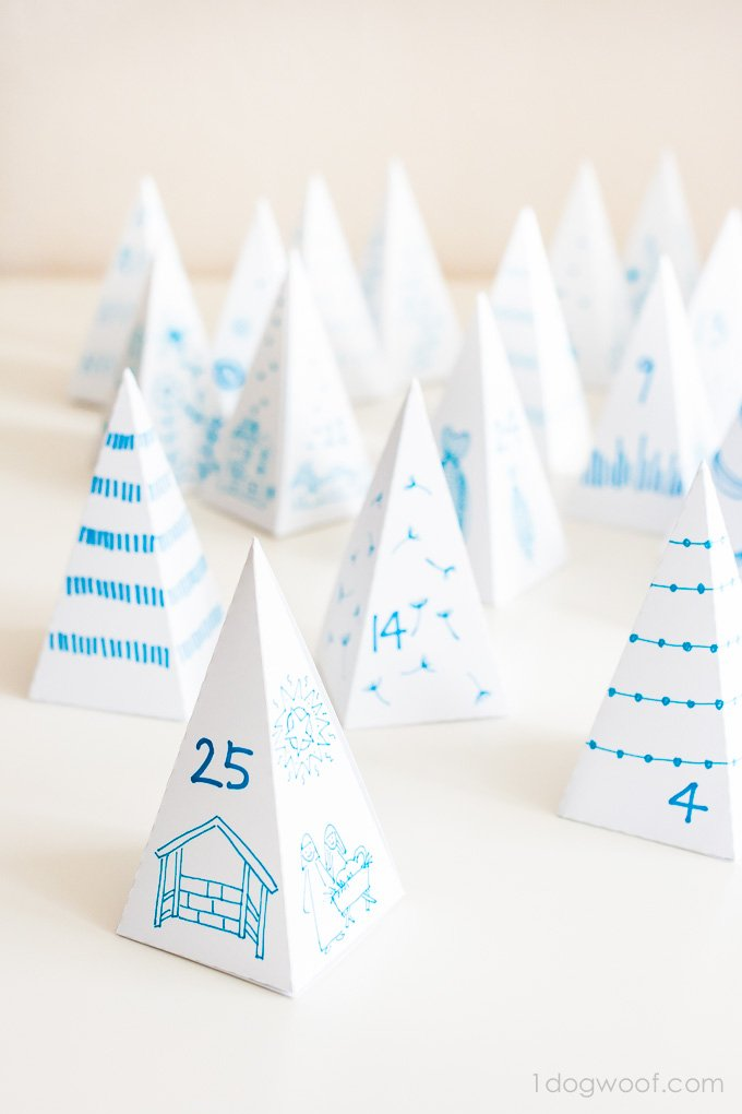 Triangle Box Advent Calendar. The decorating possibilities are endless! | www.1dogwoof.com
