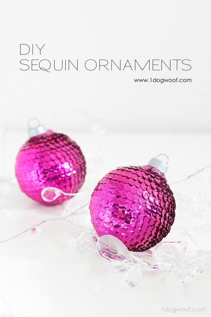 These sequin ornaments are so beautiful and would look great on any Christmas tree.  Plus, they're super easy to make!  | www.1dogwoof.com